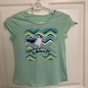 Mint green glitter graphic girls T-shirt